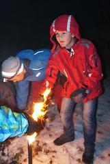 Fackel im Schnee (bcuzwil) Tags: santa christmas kids club weihnachten schweiz switzerland kinder weihnachtsmann claus badminton wald bcu samichlaus uzwil badmintonclub schmutzli