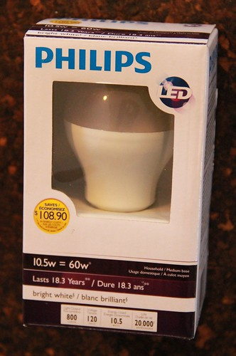 The Philips 10.5 watt LED light bulb is not dimmable, and sells for about $10.