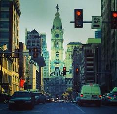 (lc_402) Tags: city bridge philadelphia car night dark lights driving view cityhall busy nighttime benfranklinbridge uploaded:by=flickrmobile flickriosapp:filter=nofilter