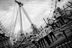 Welcome to London (Barnaby Nutt) Tags: white black london eye playground southbank welcome x100