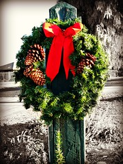 Roadside Yuletide (BenitaMarquez) Tags: california road christmas wood xmas winter red usa brown holiday green nature northerncalifornia festive season vineyard december post country wreath bow bayarea ribbon eastbay merry roadside livermore pinecones yuletide