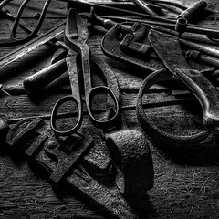 Old Tools (arbyreed) Tags: blackandwhite bw monochrome machine tools squareformat grayscale arbyreed