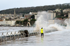 Waiting for the big one (stevewanstall) Tags: street people storm english flooding waves streetphotography foam seafront westonsupermare hightide breaking theenglish