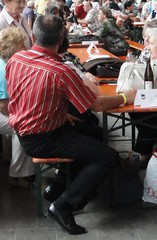 at the fair - sitting (TBTAOTW2011) Tags: camera old brown man black senior leather businessman daddy shoe shoes dad candid tan business hidden belly sole chubby tassel loafers loafer