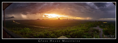 Glass House Mountains (jasoncstarr) Tags: sunset panorama storm clouds canon landscape sigma panoramic bolt lightning glasshousemountains 1020mm thunder wildhorsemountain 60d wildhorselookout canoneos60d