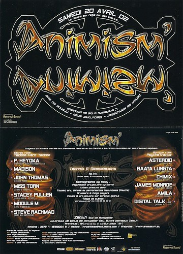 "Dj Patrice Heyoka - Flyer 20/04/2002 - ""Animism"" @ Zénith (Montpellier) <a style=""margin-left:10px; font-size:0.8em;"" href=""http://www.flickr.com/photos/110110699@N03/12211580304/"" target=""_blank"">@flickr</a>"
