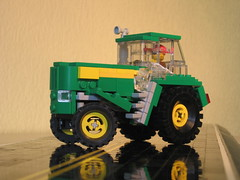 18 - Nothing Runs Like A Deere - Big John Deere Tractor  With Working Steering - LEGO (Buff83ST) Tags: scale steering lego farm farming working farms farmer trailer minifig trucking functionality