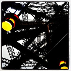Going up the #tour #eiffel #paris... (luc betbeder) Tags: abstract paris france lines metal lights jj tour eiffeltower eiffel ig allshots iphoneedit instagram instagramhub uploaded:by=flickstagram instagram:photo=4952224745677639 colormefab