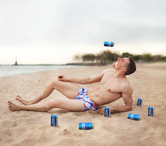 (Houston Roderick) Tags: chicago beach beer muscles hunk gayboy speedo budlight bathingsuit stud debauchery froth