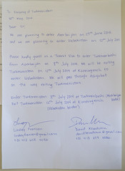 Letter to Turkmenistan Embassy