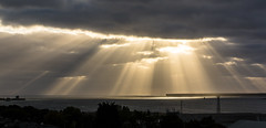 Broughty Castle ... for scale (Chris B70D) Tags: dundee broughty ferry view from window 3rd floor sunrays sun rays light clouds breaking through morning 6am oil rig castle river tay dramatic natural landscape colours chris berridge photography canon 70d 18135 stm