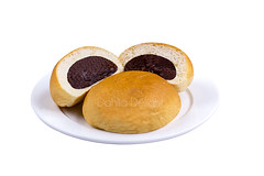bun bread isolated (sydeen) Tags: bun bread isolated white background food tasty dinner fast sandwich yeast patty closeup nobody close horizontal meal delicious eating soft baked fresh wheat flour healthy fishsauce hot core cut half sweet bean jam