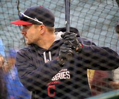 Indians outfielder Lonnie Chisenhall takes batting practice before World Series Game 6. (apardavila) Tags: postseason wordseries baseball clevelandindians lonniechisenhall majorleaguebaseball mlb progressivefield sports worldseries