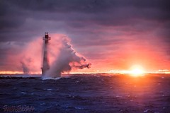 Boom! [explore] (Scott Shields Photo) Tags: muskegon breakwater splash wave gale sunset 2016 clouds lake effect michigan