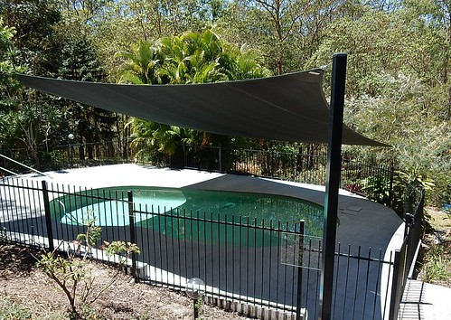 Pool With Shade Cloth