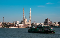 Al Salam Mosque, Port Said (The Sergeant AGS (A city guy)) Tags: mosque blue skies boats travelformyjob travelling waterways water seaports portsaid