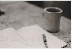Deep Thoughts :: Dumb Thoughts (LilaRae) Tags: blurry notebook coffee mug blackwhite film analog
