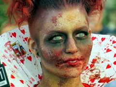 The Queen of Hearts now a #zombie. (kennethkonica) Tags: broadripplezombiewalk zombies costume faces colors canonpowershot canon people persons global random hoosiers halloween horror outdoor midwest usa america indiana indianapolis indy broadrippleindiana gore blood red festival fun event october fall eyes bestshotoftheday contactlens skin
