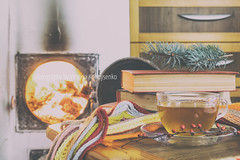 Cup of tea and flames of fire in a fireplace (victoria.kondysenko) Tags: winter tea book weekend fire warm home hot reading autumn relax scarf drink cup xmas fall cold red ginger wood hearth rustic table christmas traditional cozy lifestyle retro beverages rural house country romantic wooden vintage heat fireplace cottage beautiful checkered