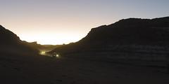 Luces en el camino (monto84) Tags: amrica amricadelsur automvil chile coche desiertodeatacama formato formato2x1 fotografapaisaje panormica puestadesol regindeantofagasta transporte transporteterrestre valledelaluna