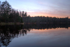 Dusk Mirror (diesmali) Tags: vstragtalandsln sweden partille paradiset forest tarn lake pine trees evergreen reflection sunset dusk clouds water evening canoneos6d canonef24105mmf4lisusm