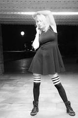 daisy bright (spencerrushton) Tags: spencerrushton spencer rushton canon canonl canon5dmkiii 5d manfrottotripod manfrotto model london londonuk londonnight subway night outdoors iso12800 beautiful blackandwhite black white portrait purpleport socks stockings availablelight 24105mm canon24105mmlf4 street overthekneesocks bw monochrome bokeh blond