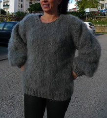 Women in sexy mohair sweater (Mytwist) Tags: gray hand knitted long hair mohair fuzzy sweater pullover lanaknittings girl woman lady sweatergirl knitwear milf wool woolfetish fashion fetish female grobstrick retro exclusive laine design