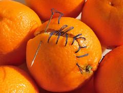 Mandarine stitches (on Explore, November 21, 2016) (M. Carpentier) Tags: macromondays stitches mandarine points couture orange sewing fruits needle aiguille
