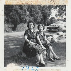 MY GRANDMA AND A FRIEND IN 1962 (richie 59) Tags: newyorkstate newyork unitedstates generalmotors america outside greencountyny greencounty people oldsmobile summer woman oldphotograph olddays 1962 oldpicture oldphoto blackandwhite film photoscan 1960s filmcamera filmphotography greenlake oma blackwhitepicture 1950scar americancar uscar 2door twodoor 2doorhardtop twodoorhardtop hardtop automobiles autos automobile auto car motorvehicle vehicle 1956oldsmobile nystate nys ny usa us trees vacation fun frends oldcar oldsmobilehardtop greenlakeny rocks grass dirt driveway richie59
