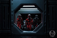 Black Squadron (TX-0666) Tags: need geek light love artwork tiefighterpilot rogueone deathstar pilot tiefighter pdx portland art dark red black toyphotography actionfigures starwarstoyphotography starwars rogue one empire action figure diorama flight space