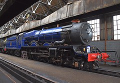 GWR Locomotive, King Edward II, stabled on shed, at Didcot, Great Western Railway Centre. 08 07 2016 (pnb511) Tags: didcotrailwaycentre great western trains railway track steam loco locomotive depot shed gwr king 6023