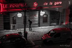 Le Fournil de la gare - Lyon - France (Bouhsina Photography) Tags: street black white red rouge noir blanc selective couleur rue nuit lumire pieton passant soir bouhsina bouhsinaphotography canon 70d reflection