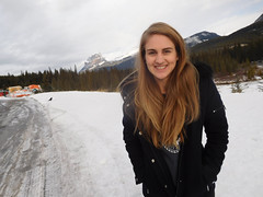 Emily, Crow and Castle Mountain (Darrell Neufeld) Tags: c castlemountain alberta banff portrait winter crow