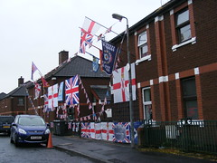Flying the Flag: Loyalist Sandy Row, South Belfast (seanfderry-studenna) Tags: flag loyalist sandy row south belfast northern ireland union ulster uvf uda rhc 36th division politics political outside outdoor banners houses street orange order protestant unionist pul