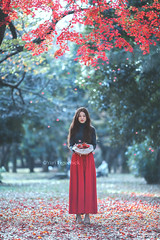 Yuki and momiji (Yuri Figuenick) Tags: portrait woman fall leaves fallenleaves autumn japanese asian hat levitation float wither red nature canon eos 5d 135mmf2l green blue focus dof longhair longskirt fashion backlit light momiji