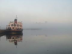 Fog surrounds Birkenhead docks (grahampaul78) Tags: fog mist birkenhead docks eerie reflection