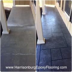 Ashlar Slate Porch- Harrisonburg Epoxy Flooring (Decorative Concrete Kingdom) Tags: harrisonburg virginia frontporch stainedconcrete ashlarslate concreteoverlay
