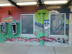 Arlington Heights mural obliterated (Spatch) Tags: mural busstop mbta arlingtonheights 77bus