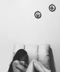 Silent screams (some_stuff) Tags: portrait blackandwhite me wall myself holding paint hand legs couch faceless whitewall darkhair embracing