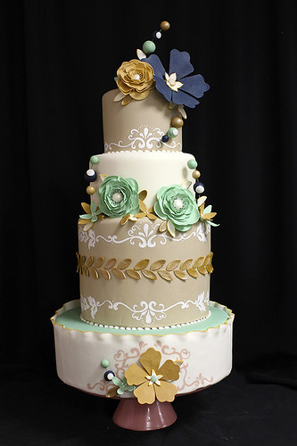 Navy Teal Gold bubble flowers wedding cake