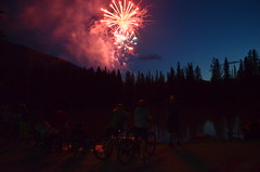 fire, fire, light's desire (*skylimits) Tags: trees lake canada mountains day fireworks alberta banff canadaday bikers