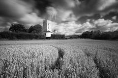 Windy (Justin Minns) Tags: clouds corn landscape saxsteadgreen suffolk summer wheat windmill mono flickr ml074 web saxtead green