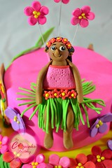 Gumpaste hula girl Kiana (The Cupcake Factory Barbados) Tags: pink flowers girl cake surf head board hula flip luau flops tiki fondant