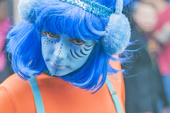 20131021_F0001: Blue female alien in the parade (wfxue) Tags: street blue portrait people girl festival female alien crowd makeup canterbury parade event fancydress flickrfriday maytheforcebewithyou 2013