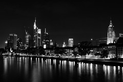 Frankfurt 10pm (Gikon) Tags: longexposure light bw reflection monochrome skyline night buildings blackwhite nikon nightshot frankfurt 1855mm gikon d3100