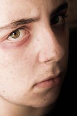 ~Jennir Narvez (TheJennire) Tags: camera light boy luz halloween face look canon dark cores nose photography photo eyes olhar colours foto expression olhos colores lips ojos cheeks fotografia mirada camara eyebrows