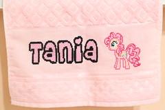 My Little Pony - Cross stitch (harumi1206) Tags: pink girl cherry punto cross stitch little handmade name towel pony cruz nombre toalha nome niñas menina ponto tania letras bordado toalla monograma
