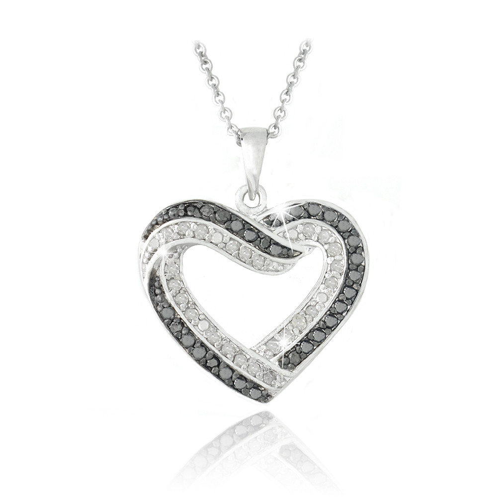 0 50ct TDW Black & White Diamond Open Heart Necklace in Brass