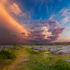 Poulnabrone Sunset Scenery (freestock.ca  dare to share beauty) Tags: travel pink blue original ireland sunset red sky irish orange cloud white black green art texture tourism nature beautiful beauty grass yellow rock stone clouds photomanipulation manipulated landscape gold grey golden twilight scenery rocks colorful pretty glow sundown natural image cloudy stones vibrant background hill stock gray creative scenic picture violet rocky free vivid surreal manipulation scene hills nicolas limestone glowing dreamy raymond colourful kennedy cloudscape brin resource photomanipulated vibrance poulnabrone somadjinn freestockca