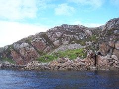 Rugged Coastline, Shieldaig, West Coast of Scotland, May 2011, Explored (allanmaciver) Tags: blue sky west grass coast scotland dangerous hidden caves rugged shieldaig allanmaciver